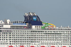 A close-up of Norwegian Epic's water slides.
